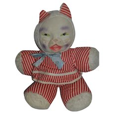 Old Doll Cat Stuffed Animal Mask Face Character Kitty Cat