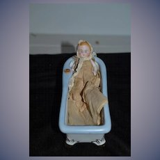 Old Porcelain Bath Tub W/ Miniature All Bisque Baby Doll In Christening Gown Dollhouse