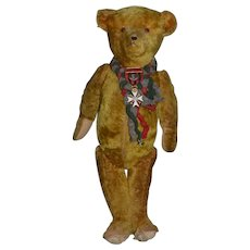 Antique Teddy Bear Doll Friend Mohair Jointed Bear w/ Old Enamel Medal Glass Eyes