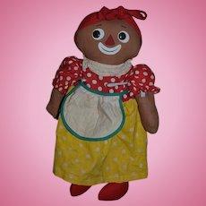 Old Doll Black Belindy Raggedy Ann & Andy Friend Cloth Doll Knickerbocker