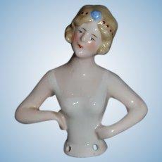Old Doll Half Doll China Head Fancy Head Piece German