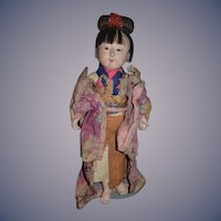 Old Doll Oriental Doll In Original Clothing Wonderful Character Ichimatsu Ningyo Unusual Hair Style Papier Mache