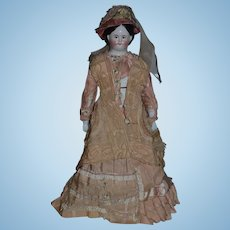 Antique Doll China Head Brown Eyes Kloster Veilsdorf Fancy Clothes