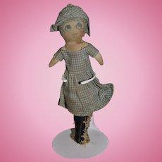 Old Doll Miniature Cloth Doll Rag Doll Sweet Wonderful Face