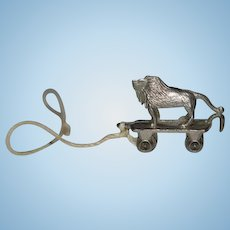 Vintage Miniature Doll Dollhouse Pull Toy Lion On Wheels Metal TINY perfect for Dollhouse