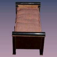 Antique Doll Bed Wood W/ Old Mattress ED SCHNEIDER SPORRENGASS Basel Dollhouse W/ Old Tag