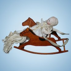 Vintage Doll Artist Doll & Wood Horse Rocker Miniature Dollhouse