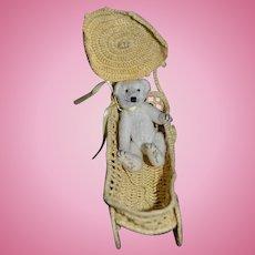 Artist Miniature Teddy Bear Signed Jointed In Pram Sweet!! Dollhouse