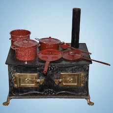 Old Tin Miniature Doll Child's Stove W/ Pots and Pans and Fancy Brass Doors and Claw Feet
