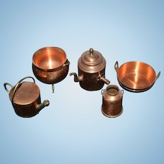 Vintage Doll Copper Pots Pans Miniature English Lot Set