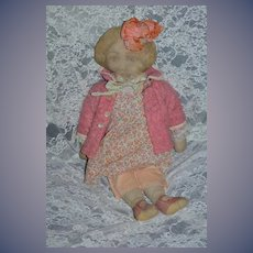 """Old Doll Printed Cloth Face Sweet Outfit 21"""" Tall"""