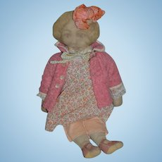 "Old Doll Printed Cloth Face Sweet Outfit 21"" Tall"