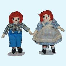 Vintage Doll Raggedy Ann & Andy Cloth Doll Set Button Eyes Miniature