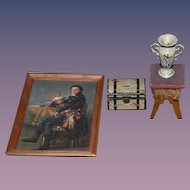 Old Doll Miniature Dollhouse Lot Picture Trunk Old Vase Old Stool W/ Fringe