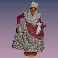 Wonderful Doll French Artist S.Jouglas Lady with Lamb and Cotton Signed