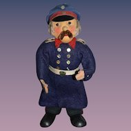 Old Doll Character Doll Cloth Doll Police Officer Cloth Doll Wood Feet Felt Doll