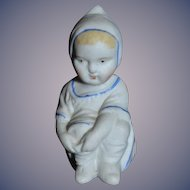 Antique Doll Miniature Piano Baby Figurine Adorable All Bisque Dollhouse: