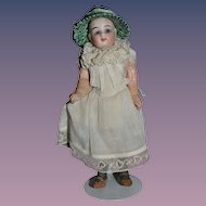 Antique Doll Miniature Dollhouse Bisque Head Glass Eyes Fancy Hat