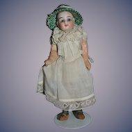 Antique Doll Miniature Dollhouse Bisque Head Glass Eyes Fancy Hat