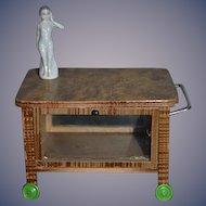 Old Wood and Glass Rolling Tea Caddy Tea Cart W/ Figurine