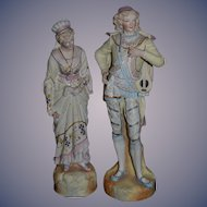 Old Doll Wonderful Bisque Figurines Amazing Lady and Man