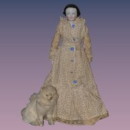 Wonderful Old Miniature Fur Dog W/ Chain Leash For Doll