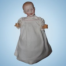 Antique Doll Bisque Heubach Wind Up Mechanical Walking Doll Laughing Sweet Intaglio Eye