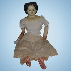 "Antique Doll HUGE Greiner W/ Tag unusual Hair Style 29"" Tall ORIGINAL Finish Papier Mache Paper"