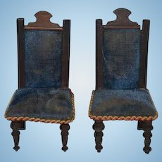 Antique Doll Chairs Wood Upholstered Fancy Dollhouse Miniature Beidermeier
