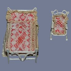 Vintage Doll Miniature Doll Bed And Rocking Chair W/ Linens Dollhouse TINY Metal