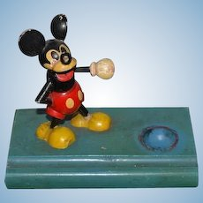 Old Doll Mickey Mouse Inkwell Wood Unusual