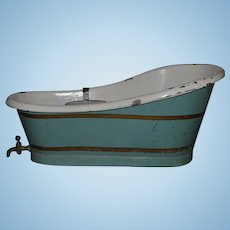 Antique Doll Tub W/ Soap Holder Tin Bathing Tub W/ Brass Spigot and Soap Dish Large Size Bath Tub