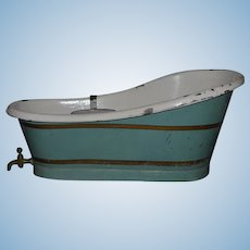 Antique Doll Tub W/ Soap Holder Tin Bathing Tub W/ Brass Spigot and Soap Dish Large Size Bath Tub