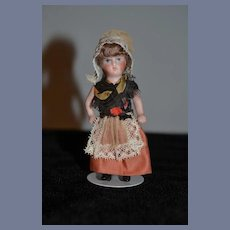 Antique Doll Miniature French Bisque Doll Dollhouse Factory Clothes All Bisque Doll