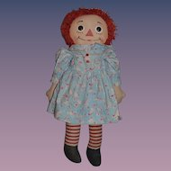 Raggedy Ann Doll Cloth Doll Rag Doll Button Eyes Sweet