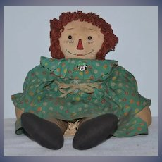Old Doll Raggedy Ann Cloth Doll Rag Doll Button Eyes Sewn Features
