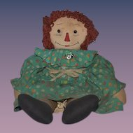 Old Doll Raggedy Ann Cloth Doll Rag Doll Button Eyes Sewn Features