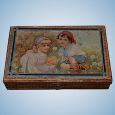 Old Wood Blocks Litho In Original Wood Case W/ Pictures For Doll To Play Miniature Puzzle Blocks
