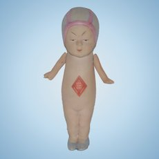 Antique Doll Miniature All Bisque Queue San Baby Jointed Dollhouse Oriental Doll Original Tag