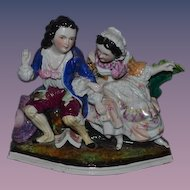 Old Porcelain Figurine Young Boy & Young Girl Ornate Figural China