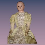 "Antique Doll French Papier Mache Paper Mache Gorgeous Wispy Painted Hair 28"" TALL"