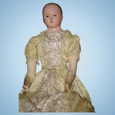 """Antique Doll French Papier Mache Paper Mache Gorgeous Wispy Painted Hair 28"""" TALL"""