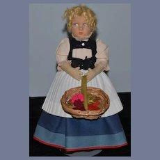 Old Doll Lenci Cloth Doll Felt Doll W/ Flowers Sweet Face