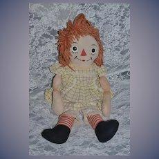 Old Raggedy Ann Johnny Gruelle's Own W/ Body Tag Cloth Doll Rag Doll