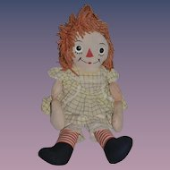 Old Raggedy Ann Johnny Gruelle's Own W/ Body Tag Cloth Doll Rag Doll