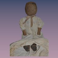 Old Art Fabric Mills Cloth Doll Printed Face Dressed W/ Old Leather shoes BIG GIRL Early