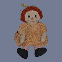 Old Big Raggedy Ann Cloth Rag Doll BIG Button Eyes