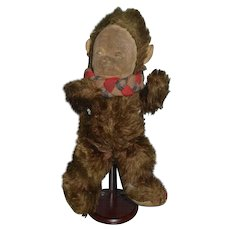 Old Doll Mohair Monkey W/ Velvet Face Painted Features Plays Music Stuffed Animal wind up