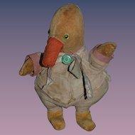 Old Doll Toy Folk Art Cloth Duck Glass Eyes Unusual