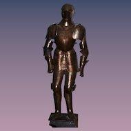 Antique Victorian Era German Knight Suit of Armor HUGE W/ Wood Base Ornate Shield 6 ft